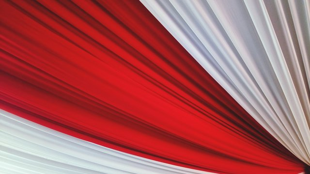 Full Frame Shot Of Red And White Curtain