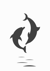 Silhouette of dolphins on a white background. Dolphins and the moon. Vector illustration.