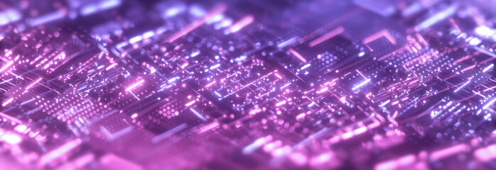 Poster Macro photography Abstract purple technology background. Futuristic digital motherboard texture. Neon light