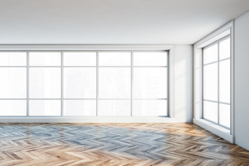 Panoramic empty white room interior