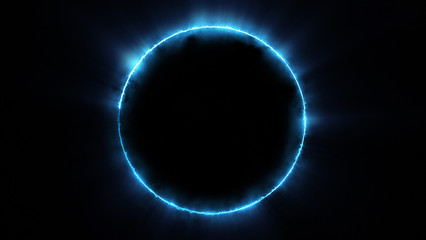 Template for text : Blue neon glowing glare circle with rays. Frame isolated on black background Wall mural