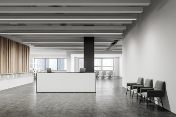 White reception and lounge in corporate office