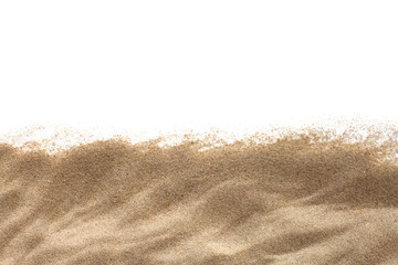 The sand isolated on white background. Flat lay top view. Copy space.