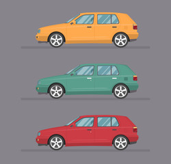 Garden Poster Cartoon cars Colorful car set. Isolated auto icon kit. Side view. Cartoon hatcback on grey background.
