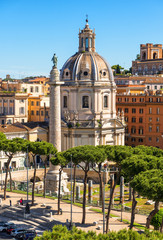 Fototapete - Rome in summer, Italy. Nice scenic view of Ancient Roman Trajan's Column in the Rome city center. Beautiful cityscape of Rome with old buildings.