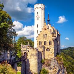 Fototapete - Lichtenstein Castle in summer, Baden-Wurttemberg, Germany. This famous castle is a landmark of Germany. Scenic view of fairytale Lichtenstein Castle on a rock.