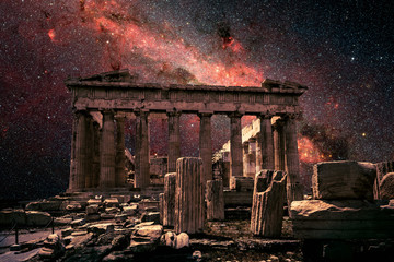 Spoed Fotobehang Bedehuis Athens at night, Greece. Fantasy view of Parthenon on Milky Way background. This old temple is top landmark of Athens. Elements of this image furnished by NASA.