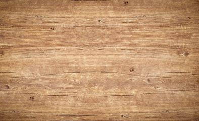 Fotobehang Hout Wood texture background. Top view of vintage wooden table with cracks. Light brown surface of old knotted wood with natural color, texture and pattern.