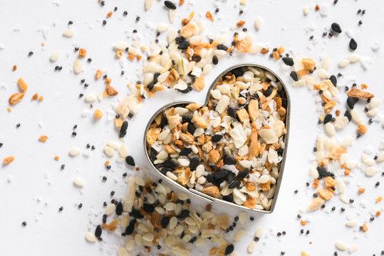 Bagel Seasoning in a Heart Shape