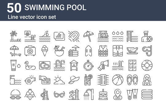set of 50 swimming pool icons. outline thin line icons such as towel, goggles, springboard, sunscreen, sunbed, basketball