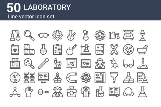 set of 50 laboratory icons. outline thin line icons such as flask, molecules, germ, test tube, waste, magnifying glass