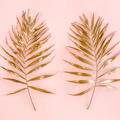 Wall Mural - Pattern of golden tropical date palm leaves on pink background. Flat lay, top view minimal concept.
