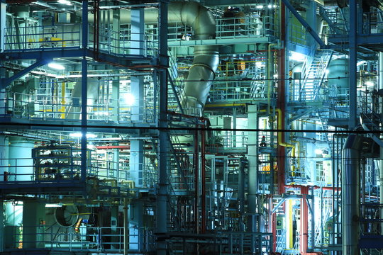 Full Frame Shot Of Illuminated Power Plant At Night