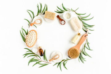 Photo sur Toile Spa Spa concept with eucalyptus oil and eucalyptus leaf extract natural /organic spa cosmetics products, eco friendly bathroom accessories. Skincare concept on white background. Flat lay composition top v