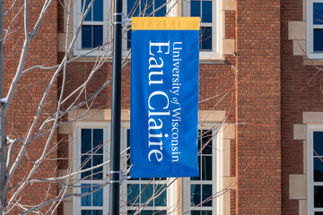 Campus Banner and Flag at the University of Wisconsin-Eau Claire
