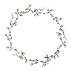 Watercolor willow wreath. Hand painted willow branch isolated on white background. Spring illustration for design, print, fabric or background. Easter template.