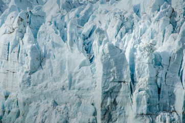 Closeup of ice seracs of a melting glacier