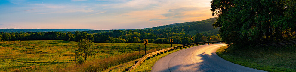 Ultra High Resolution Valley Forge National Park Road and Sunset
