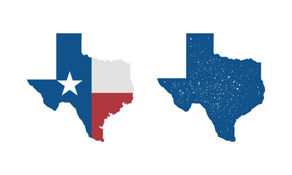 Texas flag map icon and Texas map with vintage stamp effect isolated on white background. Print for T-shirt, typography. Vector template