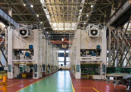Metal stamping presses at a car factory