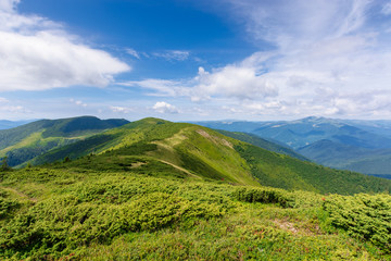mountain landscape. hiking and tourism concept. rolling hills and distant ridges. green grassy slopes. sunny weather with clouds in summer