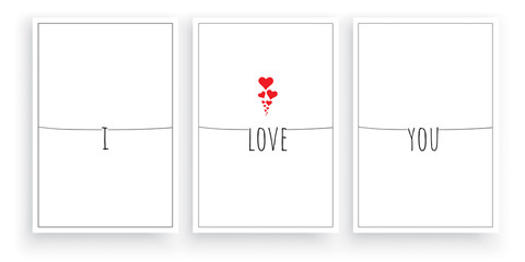 I love you, vector. Scandinavian, minimalist three pieces poster design. Wording design, lettering. Beautiful, romantic, love quotes. Wall art, artwork, wall home decoration, home decor