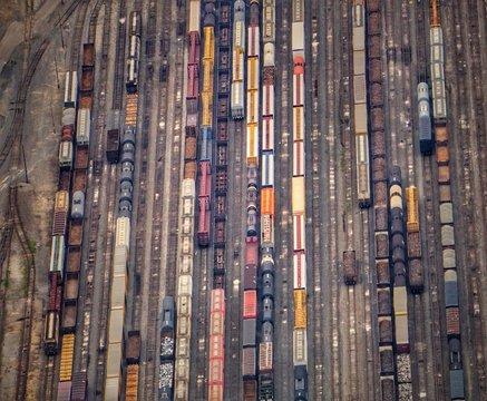 Aerial View Of Trains On Railroad Tracks