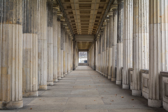 Row of classic greek columns in Berlin, Germany
