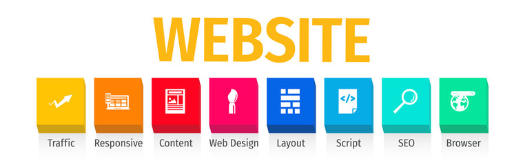 Website Flat Vector Icons. Website Vector Background with Icons.