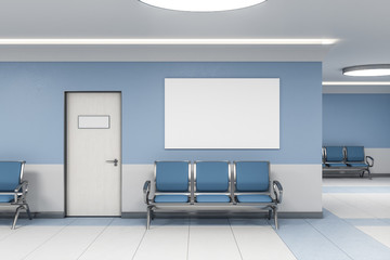 Contemporary waiting room and blank poster