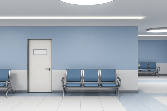 Modern waiting room in blue medical office interior