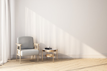Modern room interior with chair