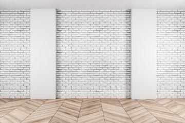 Exhibition hall interior and brick wall