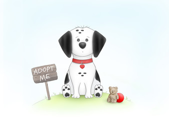 cute hand drawn illustration of sad puppy dog, sitting on grass next to wooden sign with text adopt me, and teddybear, red ball and collar, on white background