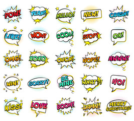 Retro colorful comic speech bubbles set with halftone shadows on white background. Expression text BANG, YEAH, NO, LOL, BANG, BOOM, COOL, OMG, WOW, OOPS etc. Vector illustration, pop art style.