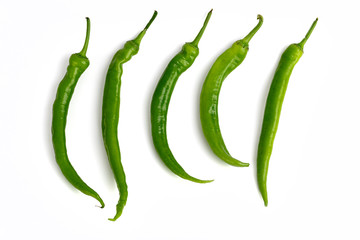Canvas Prints Hot chili peppers green chili peppers isolated on white background