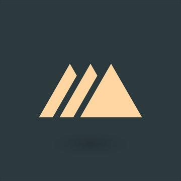Creative blue trinity futuristic triangle symbol design for company logo. Triple Mountain Corporate tech geometric identity concept. Stock Vector illustration isolated on green background.