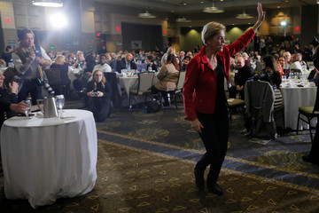 Democratic 2020 U.S. presidential candidate Warren leaves after speaking in Bettendorf