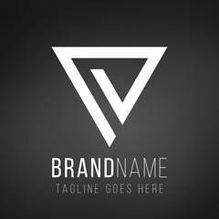 Geometric triangle logo design. business icon of company identity symbol concept. Stock Vector illustration isolated on black background.