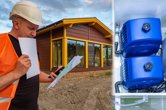 Builder next to a newly built house. Communication in a new home. Compressor septic tank. Sewerage. Installation of an autonomous septic tank. Equipment for septic tanks. Builder watching documents