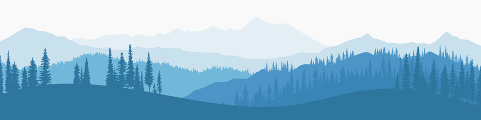 Wall Mural - Vector illustration of mountains, ridge in the morning haze, panoramic view
