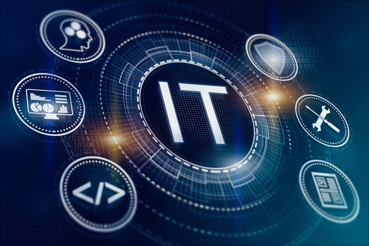 IT. Information technology concept. Tech icons illustrtion. Futuristic bakground.