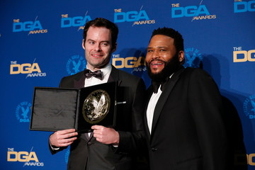 """Bill Hader, director of """"Barry, """"ronny/lily"""", poses with Anthony Anderson while holding his medallion after winning for Outstanding Directorial Achievement in the Comedy Series category at the 72nd Annual Directors Guild Awards in Los Angeles"""