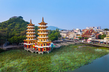 Wall Mural - Dragon and Tiger Pagodas in Kaohsiung, Taiwan.