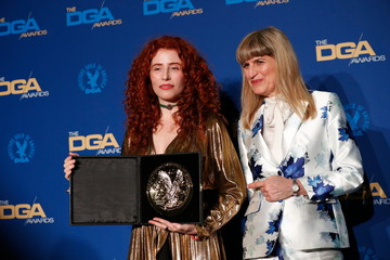 """Alma Har'el, director of """"Honey Boy"""" poses with Catherine Hardwicke at the 72nd Annual Directors Guild Awards in Los Angeles"""