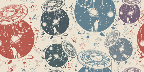 Human and Universe. Seamless pattern. Packing old paper, scrapbooking style. Vintage background. Medieval manuscript, engraving art. Symbol solar system, science, religion, astrology, astronomy
