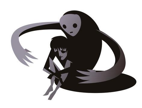 sad boy and depression dark monster