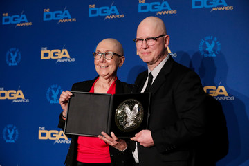 """Julia Reichert and Steven Bognar, directors of """"American Factory"""" pose with their winning medallion for Outstanding Directorial Achievement in the Documentary category at the 72nd Annual DGA Awards in Los Angeles,"""