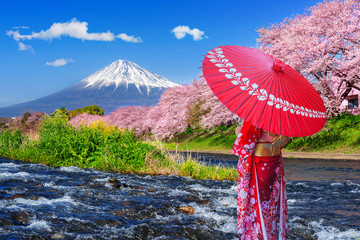 Wall Mural - Asian woman wearing japanese traditional kimono and looking at cherry blossoms with fuji mountains in Shizuoka, Japan.