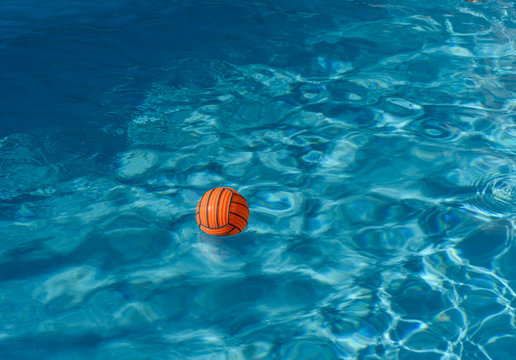 High Angle View Of Ball Floating On Water In Swimming Pool
